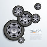 Vector modern wheels background. Stock Image