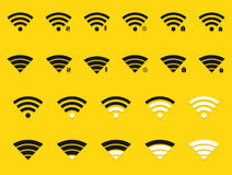 Vector modern wifi icons set on yellow Royalty Free Stock Photography