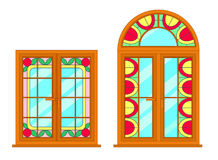 Vector modern windows with stained glass motif. For interior and exterior use. Flat style royalty free illustration