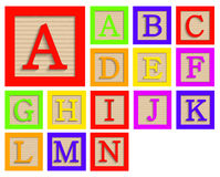 Vector modern wooden alphabet blocks set. On white background Royalty Free Stock Image