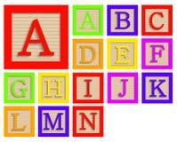 Vector modern wooden alphabet blocks set Royalty Free Stock Image