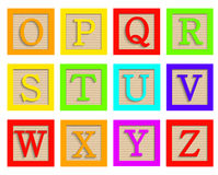 Vector modern wooden alphabet blocks set. On white background Stock Photo