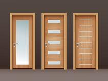 Vector wooden doors. Vector modern wooden doors with glass in eco-minimalism style on wall of brown color Stock Images