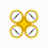 Vector modern yellow quadrocopter on white Stock Image