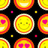 Vector modern yellow smiling from ear to ear fun happy sun sign. Stock Photography