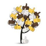 Vector moderne duimen op boom op wit Stock Fotografie