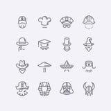 Vector moderne flache Designikonencharaktere mit verschiedenen Hüten, Bärten, Gläsern und keinem Gesicht Stockfotos