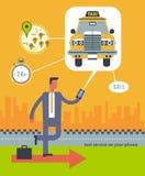Vector moderne flache kreative Konzeptillustration auf Geschäftstaxiservice-Anwendung Stockfotografie