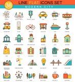 Vector moderne het pictogramreeks van de stads vlakke lijn Modern elegant stijlontwerp voor Web Stock Foto