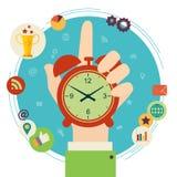 Vector moderne illustratie in vlakke stijl met de mannelijke chronometer van de handholding Royalty-vrije Stock Afbeelding