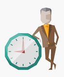 Vector moderne illustratie in vlakke stijl met de mannelijke chronometer van de handholding Vector Illustratie