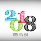 Vector moderne minimalistic Gelukkige nieuwe jaarkaart voor 2018 met hoofd grote aantallen Stock Foto's