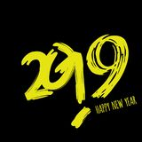 Vector moderne minimalistic Gelukkige nieuwe jaarkaart voor 2019 met hoofd grote aantallen - donkere versie met gele brieven Stock Afbeeldingen