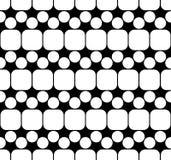 Vector moderne nahtlose Geometriemusterquadrate, Schwarzweiss-Zusammenfassung Stockbild