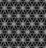 Vector moderne nahtlose heilige Geometriemusterblume des Lebens, Schwarzweiss-Zusammenfassung Stockfotos