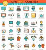 Vector Moderne online het pictogramreeks van de onderwijs vlakke lijn Modern elegant stijlontwerp voor Web Royalty-vrije Stock Foto's