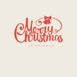Vector moderne in retro getrokken hand kalligrafische Vrolijke Kerstmis Royalty-vrije Stock Afbeeldingen