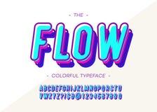 Vector moderne Typografie der mutigen Art des Flussgusses 3d Stock Abbildung