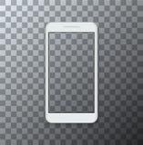 Vector modernen Smartphone mit leerem Schirm auf transparentem Hintergrund Stockbild