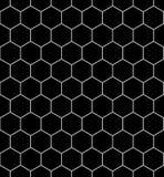 Vector modernes nahtloses Geometriemusterhexagon, Schwarzweiss-Bienenwabenzusammenfassung Lizenzfreies Stockfoto