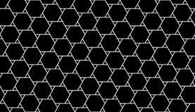 Vector modernes nahtloses Geometriemusterhexagon, Schwarzweiss-Zusammenfassung Stockbild