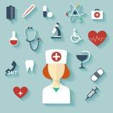 Vector moderno del diseño plano de iconos médicos Imágenes de archivo libres de regalías
