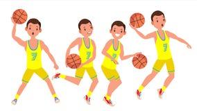 Vector moderno del hombre del jugador de básquet Concepto de los deportes Imagen de archivo libre de regalías