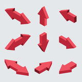 Vector moders set of isometric arrows. On gray background Royalty Free Stock Images