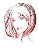 Vector modieus hand-drawn grafisch portret met een mooie gir Stock Foto's