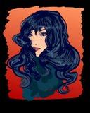 Vector modieus hand-drawn grafisch portret met een mooie gir Stock Afbeeldingen