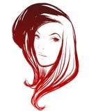Vector modieus hand-drawn grafisch portret met een mooie gir Stock Fotografie