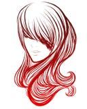 Vector modieus hand-drawn grafisch portret met een mooie gir Stock Foto