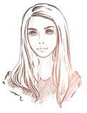 Vector modieus portret met een mooi meisje Stock Foto