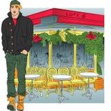 Vector modieuze kerel in jeans, jasje, laarzen, GLB  stock illustratie