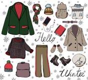 Vector modieuze manierreeks de herfst of de winterkleren en toebehoren Toevallige kleurrijke uitrusting met laag, jasje stock illustratie