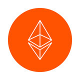 Vector modified symbol of digital crypto currency Etneryum, monochrome round line icon, simple color change Stock Photography