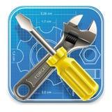 Vector moersleutel en schroevedraaier op blauwdruk XXL Royalty-vrije Stock Fotografie
