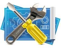 Vector moersleutel en schroevedraaier op blauwdrukXXL ico Stock Foto