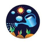 Vector moestuin en het water geven stock illustratie