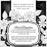 Vector Mohochrome Floral Template with Place for Text royalty free illustration