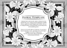 Vector Mohochrome Floral Template with Place for Text Royalty Free Stock Image