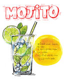 Vector mojito. Vector hand drawn picture of mojito glass stock illustration