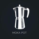 Vector Moka Pot illustration. Hand sketched maker for alternative coffee brewing. Cafe, restaurant menu design concept Stock Photos