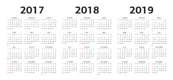 Vector moldes do calendário 2017, 2018, 2019 Imagens de Stock Royalty Free