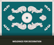 Vector molding elements for decoration. Classic molding on blue wall. Luxury wall design with moldings. Decorative bands and modu Stock Images