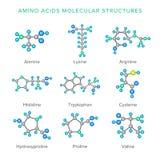 Vector moleculaire die structuren van aminozuren op witte reeks worden geïsoleerd Royalty-vrije Stock Foto's