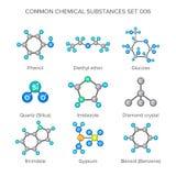 Vector moleculaire structuren van chemische die substanties op wit worden geïsoleerd Stock Foto