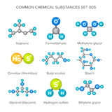 Vector molecular structures of chemical substances isolated on white Royalty Free Stock Photography