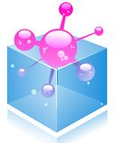 Vector molecule in the box. Stock Image