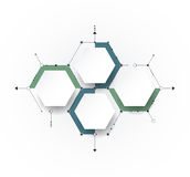Vector molecule with 3D paper label, integrated Hexagon backgroud Royalty Free Stock Image